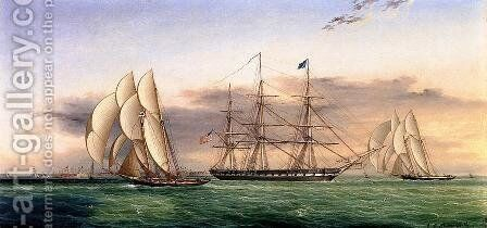 Ships off Castle Garden by James E. Buttersworth - Reproduction Oil Painting
