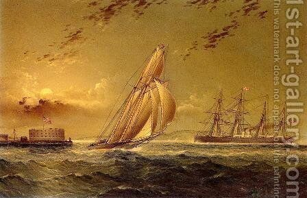 English Steamer off Staten Island by James E. Buttersworth - Reproduction Oil Painting