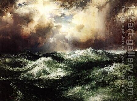 Moonlit Seascape by Thomas Moran - Reproduction Oil Painting