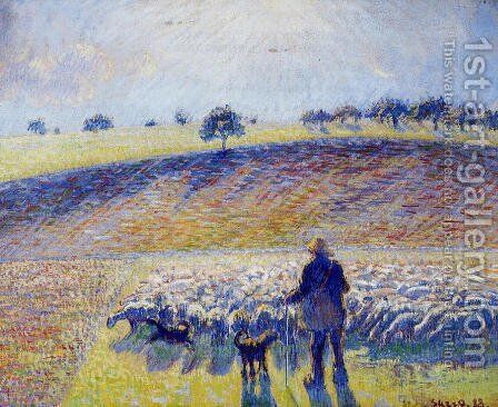 Shepherd and Sheep by Camille Pissarro - Reproduction Oil Painting