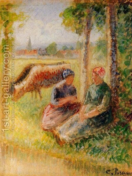 Two Cowherds by the River by Camille Pissarro - Reproduction Oil Painting
