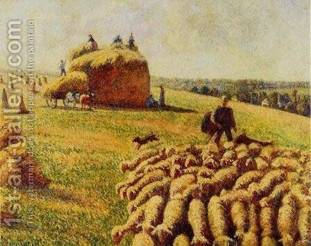 Flock of Sheep in a Field after the Harvest by Camille Pissarro - Reproduction Oil Painting