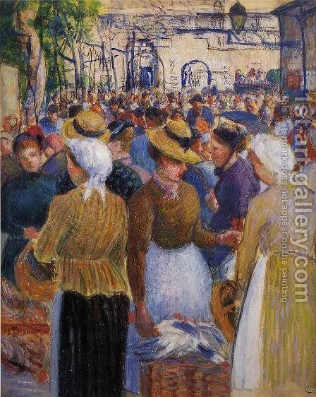 Poultry Market at Gisors by Camille Pissarro - Reproduction Oil Painting