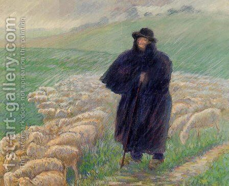 Shepherd in a Downpour by Camille Pissarro - Reproduction Oil Painting