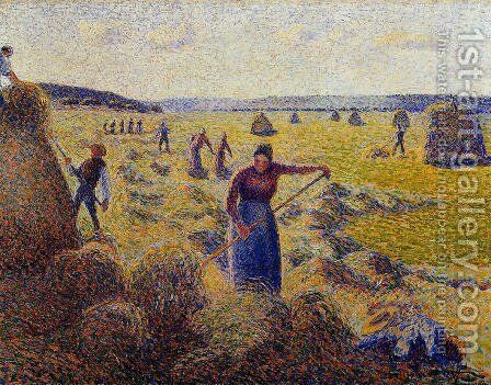 Le Recolte des Foins a Eragny by Camille Pissarro - Reproduction Oil Painting