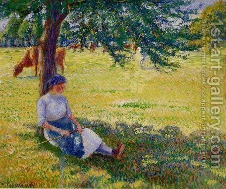 Cowgirl, Eragny by Camille Pissarro - Reproduction Oil Painting