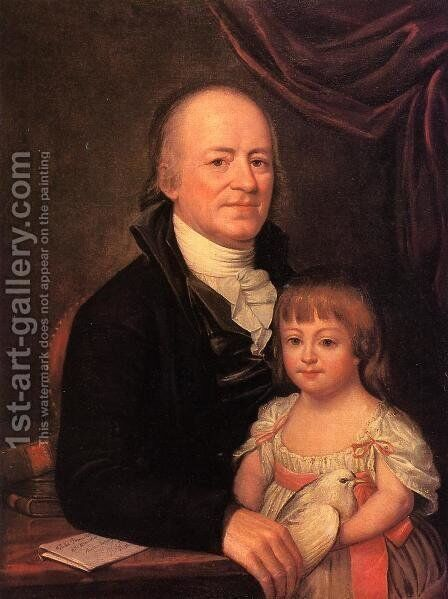 Thomas Elliott and His Granddaughter Deborah Hibernia by Charles Willson Peale - Reproduction Oil Painting