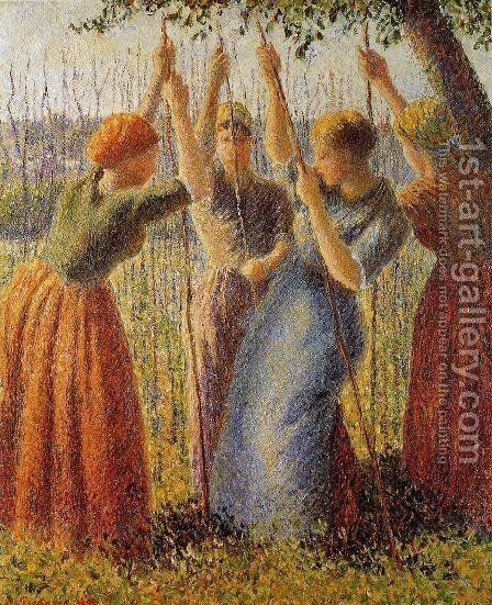 Peasants Planting Pea Sticks I by Camille Pissarro - Reproduction Oil Painting