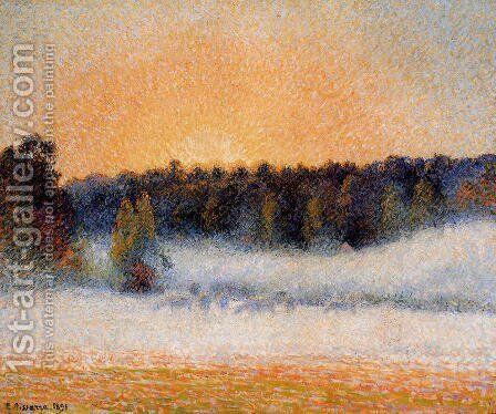 Setting Sun and Fog, Eragny by Camille Pissarro - Reproduction Oil Painting