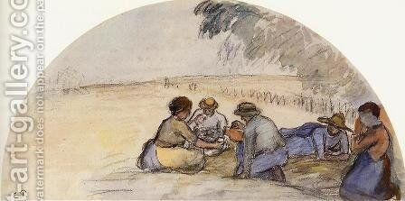 The Picnic by Camille Pissarro - Reproduction Oil Painting