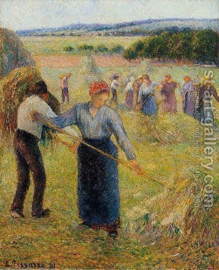 Haymaking at Eragny by Camille Pissarro - Reproduction Oil Painting