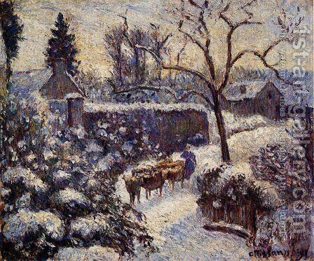 The Effect of Snow at Montfoucault by Camille Pissarro - Reproduction Oil Painting