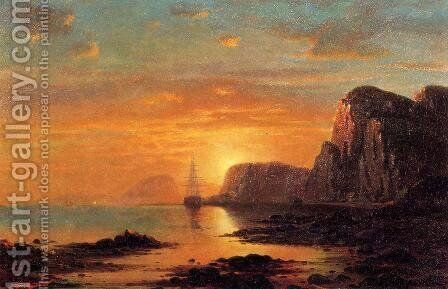 Seascape: Cliffs at Sunset by William Bradford - Reproduction Oil Painting