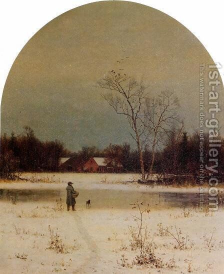 The Frozen Pond by Jervis McEntee - Reproduction Oil Painting