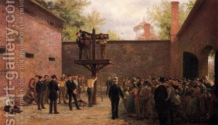 The Pillory and Whipping Post, New Castle, Delaware by Edward Lamson Henry - Reproduction Oil Painting