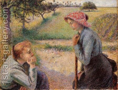 Two Peasant Woman Chatting by Camille Pissarro - Reproduction Oil Painting