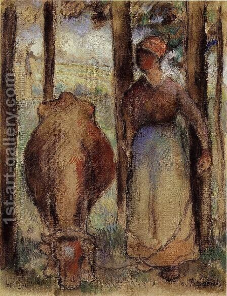 The Cowherd I by Camille Pissarro - Reproduction Oil Painting