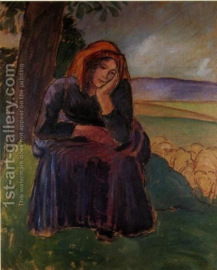 Seated Shepherdess by Camille Pissarro - Reproduction Oil Painting