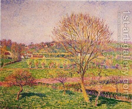 Big Walnut Tree at Eragny by Camille Pissarro - Reproduction Oil Painting