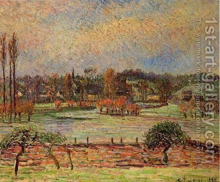 Flood, Morning Effect, Eragny by Camille Pissarro - Reproduction Oil Painting