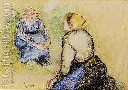 Seated Peasant and Knitting Peasant by Camille Pissarro - Reproduction Oil Painting