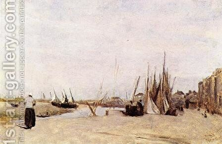 Fishermen's Quay, Trouville by Jean-Baptiste-Camille Corot - Reproduction Oil Painting