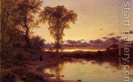 Twilight, a Stroll by the Shore by Jervis McEntee - Reproduction Oil Painting