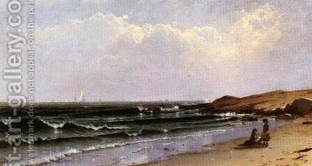 Children at the Seashore by Alfred Thompson Bricher - Reproduction Oil Painting