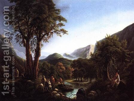 A Gathering of Indians in a Primeval Landscape by Martin Andreas Reisner - Reproduction Oil Painting