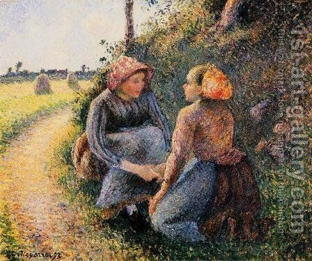Seated and Kneeling Peasants by Camille Pissarro - Reproduction Oil Painting