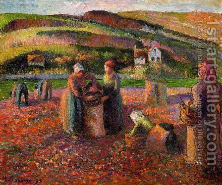Potato Harvest I by Camille Pissarro - Reproduction Oil Painting