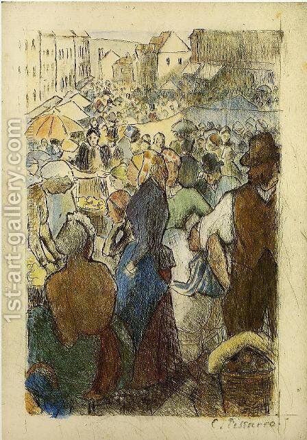 Market at Gisors, Rue Cappeville by Camille Pissarro - Reproduction Oil Painting