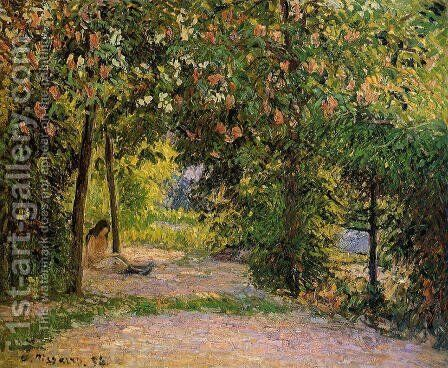 The Garden in Spring, Eragny by Camille Pissarro - Reproduction Oil Painting