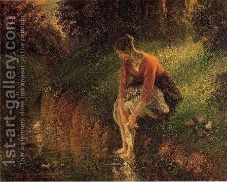 Young Woman Bathing Her Feet by Camille Pissarro - Reproduction Oil Painting