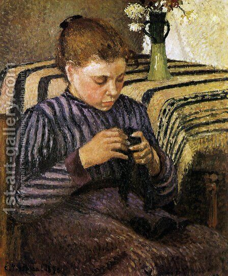 Young Girl Mending Her Stockings by Camille Pissarro - Reproduction Oil Painting