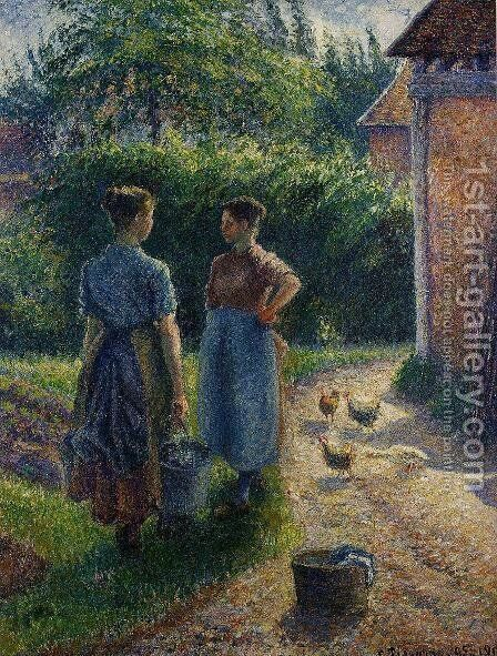 Peasants Chatting in the Farmyard, Eragny by Camille Pissarro - Reproduction Oil Painting