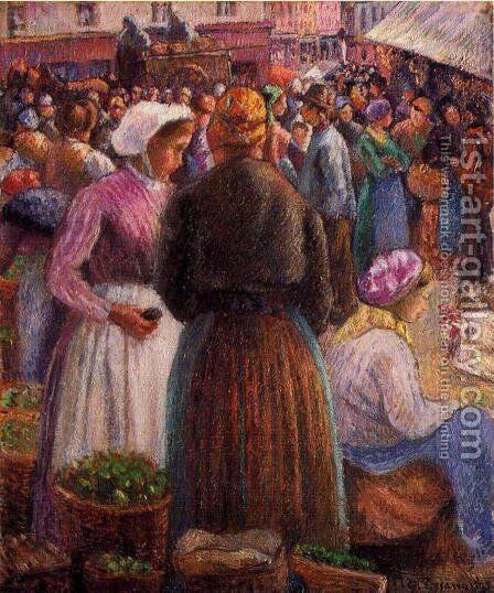 Market at Pontoise by Camille Pissarro - Reproduction Oil Painting