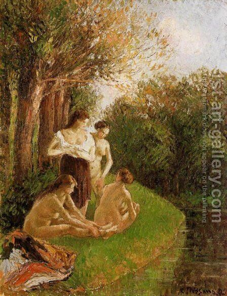 Bathers I by Camille Pissarro - Reproduction Oil Painting