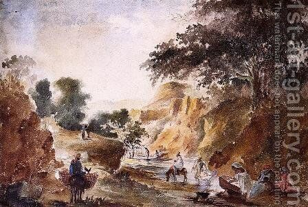 Landscape with Figures by a River by Camille Pissarro - Reproduction Oil Painting