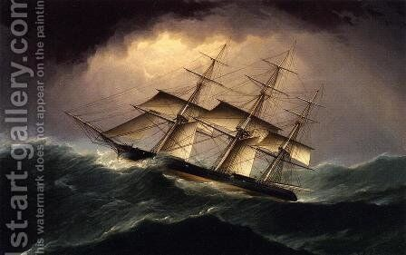 Clipper in a Heavy Sea by James E. Buttersworth - Reproduction Oil Painting