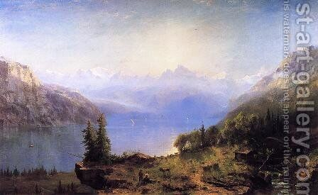 Sunrise in the Alps by Marie-Regis-Francois Gignoux - Reproduction Oil Painting