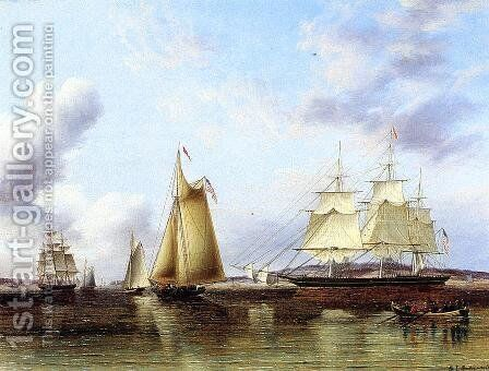 The 'N.B.Palmer' at Anchor off Staten Island by James E. Buttersworth - Reproduction Oil Painting