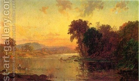 Fisherman in Autumn Landscape by Jasper Francis Cropsey - Reproduction Oil Painting