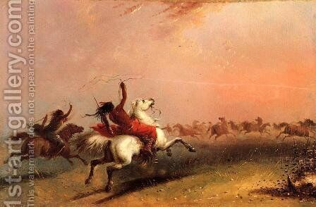 Wild Horse Hunt by Alfred Jacob Miller - Reproduction Oil Painting