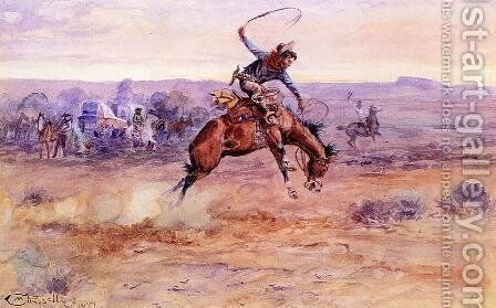 Bucking Bronco by Charles Marion Russell - Reproduction Oil Painting
