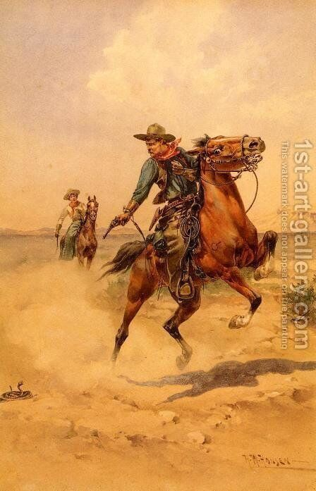 Shooting a Rattlesnake by Herman Wendleborg Hansen - Reproduction Oil Painting