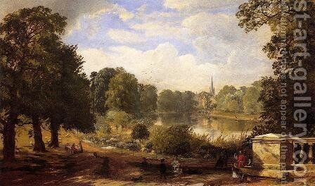 The Serptentine, Hyde Park, London by Jasper Francis Cropsey - Reproduction Oil Painting