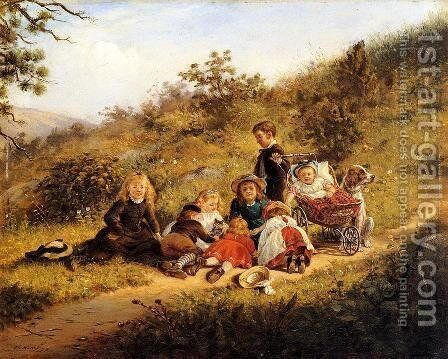The Sunny Hours of Childhood by Edward Lamson Henry - Reproduction Oil Painting