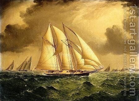 Schooners Racing off Sandy Hook by James E. Buttersworth - Reproduction Oil Painting