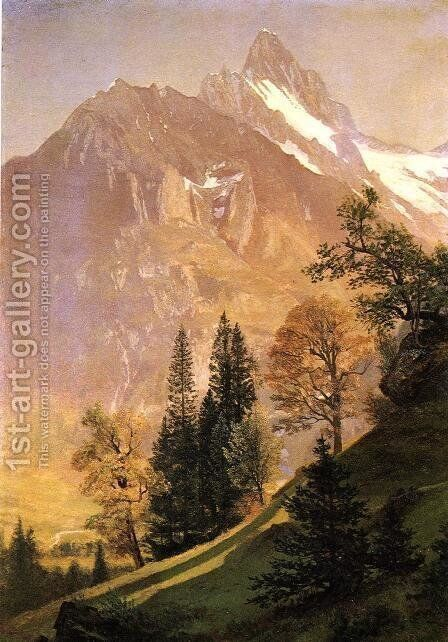 Mountain Landscape by Albert Bierstadt - Reproduction Oil Painting